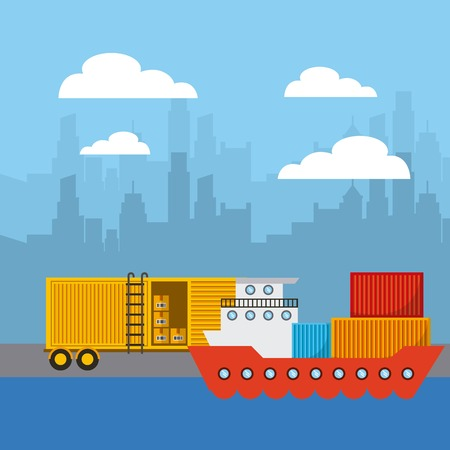 docks: cargo ship and truck in city pier. import and export colorful design. vector illustration