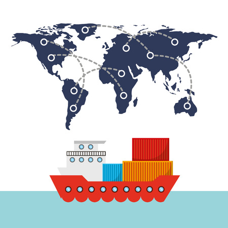 world map and cargo ship vehicle over white background. import and export design. vector illustration Illustration