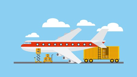 big airplane with cargo container over sky background. export and import design. vector illustration Illustration