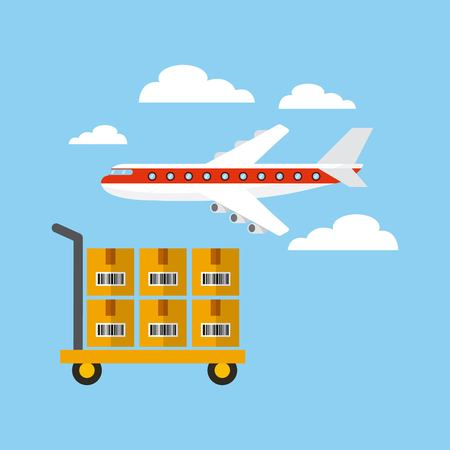 airplane and handcart with boxes over sky background. export and import design. vector illustration Illustration