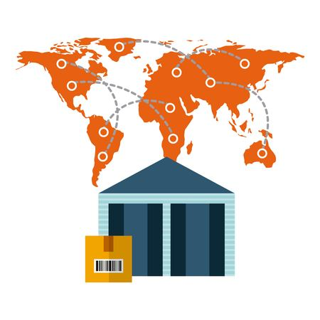 world map and warehouose with a box over white background. import and export design. vector illustration Illustration