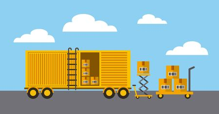 cargo container with boxes over sky background. import and export design. vector illustration