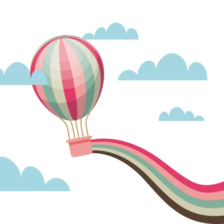 air balloon vehicle over sky background. colorful design. vector illustration Illustration