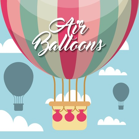 air balloon vehicle over sky background. colorful design. vector illustration 向量圖像