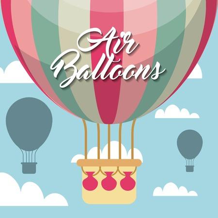 air balloon vehicle over sky background. colorful design. vector illustration Reklamní fotografie - 65704972
