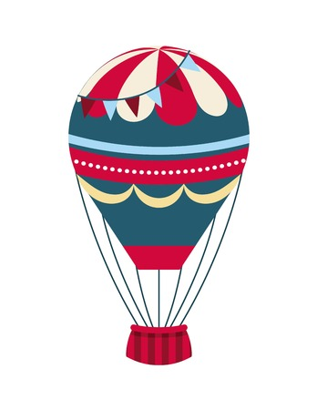 air balloon vehicle over white background. colorful design. vector illustration
