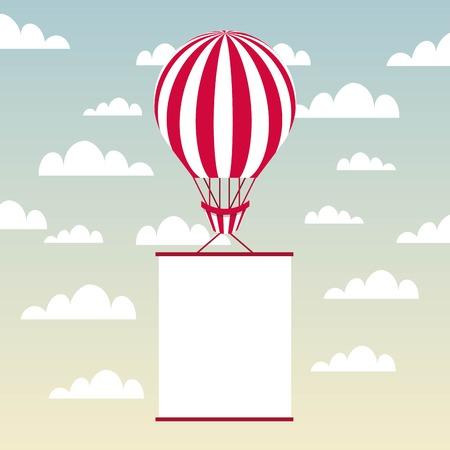하늘 배경 위에 흰색 페넌트와 공기 풍선 차량. 화려한 디자인. 벡터 일러스트 레이 션