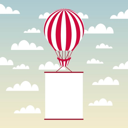 luchtballon voertuig met witte wimpel over hemelachtergrond. kleurrijk ontwerp. vectorillustratie