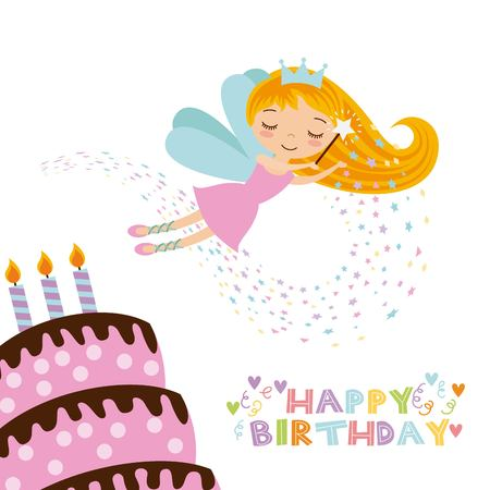 happy birthday card with cute fairy girl and cake with candles icon over white background. colorful design. vector illustration Illustration