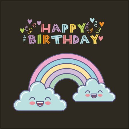 happy birthday card with cute raibow icon over balck background. colorful design. vector illustration Illustration