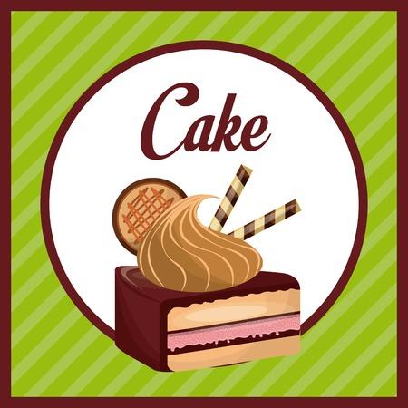 sweet cake dessert icon over green background. pastry design. over white background Illustration
