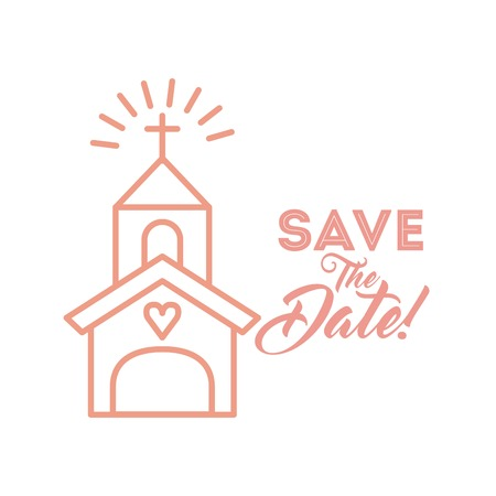 save the date card with church icon over white background. colorful design. vector illustration