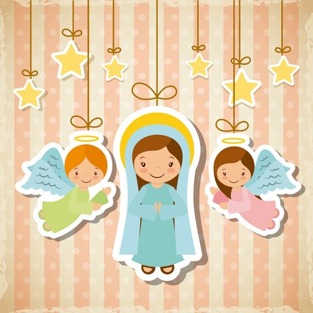 cartoon cute angels and virgin mary with decorative stars hanging. card of merry christmas design. vector illustration