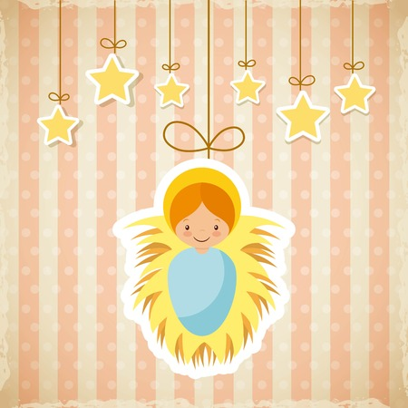 born saint: cartoon baby jesus icon with decorative stars hanging. merry christmas design. vector Illustration