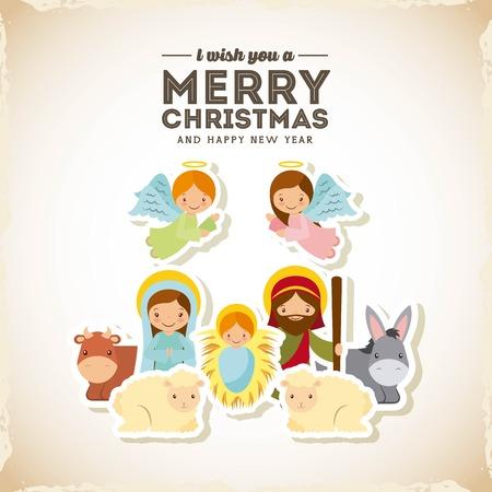 heilige familie manger scene. vrolijk kerstfeest en gelukkig nieuwjaar kaart kleurrijk ontwerp. Vector illustratie