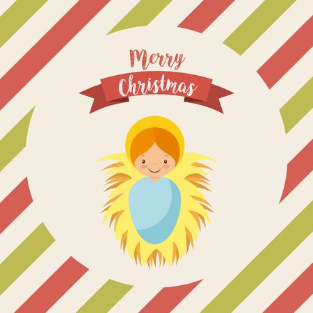 born saint: cartoon baby jesus icon. merry christmas design. vector
