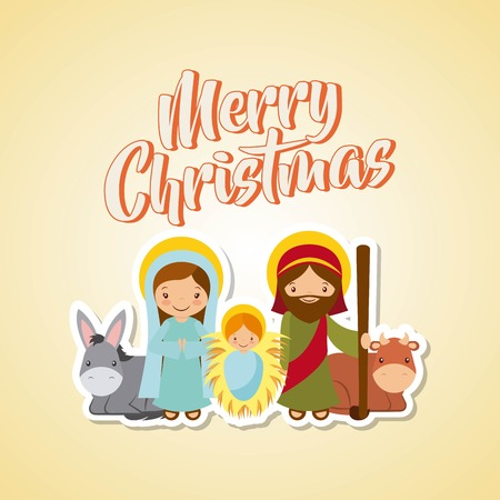 holy family manger scene and animals. merry christmas card colorful design. vector illustration