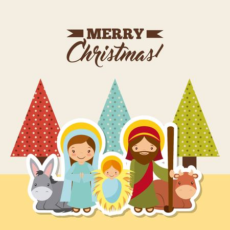 holy family manger scene with animals. card of merry christmas colorful design. vector illustration Ilustração