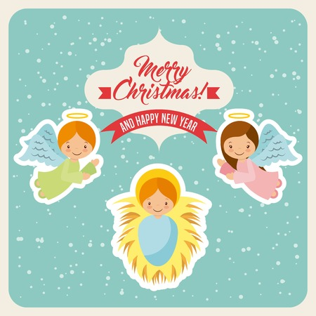 angelic: cartoon cute angels and baby jesus icon. card of merry christmas and happy new year design. vector illustration