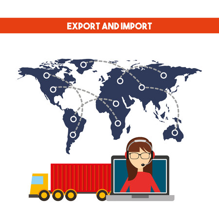 world map with cargo truck vehicle and support woman worker with headset. export and import colorful design. vector illustration