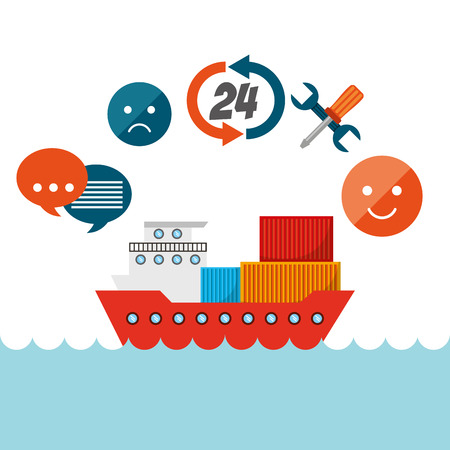 docks: cargo ship with logistic service icons around. export and import colorful design. vector illustration