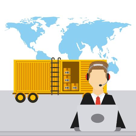 logistic support worker and cargo container with carton boxes over blue world map. export and import colorful design. vector illustration