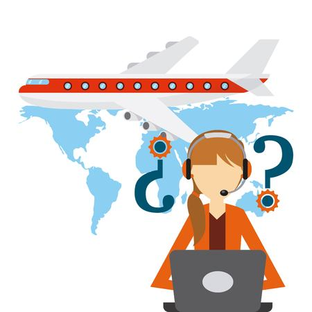 airplane vehicle and logistic support worker over blue worker. export and import colorful design. vector illustration Illustration
