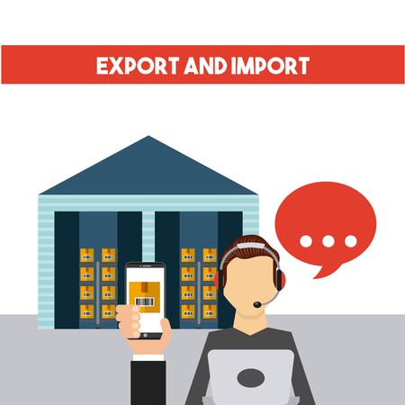 logistic support worker and warehouse with carton boxes. export and import colorful design. vector illustration