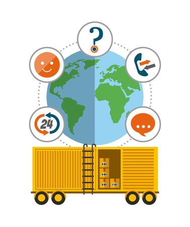 yellow cargo container and earth planet icon. export and import colorful design. vector illustration Illustration