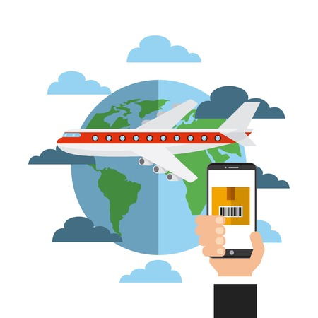 airplane with earth planet and human hand holding a smartphone device.export and import colorful design. vector illustration Illustration