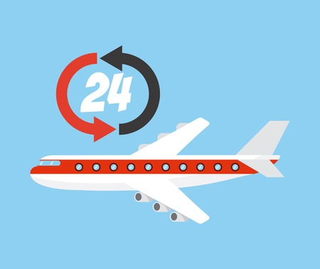 airplane vehicle with logistic service icon. export and import colorful design. vector illustration