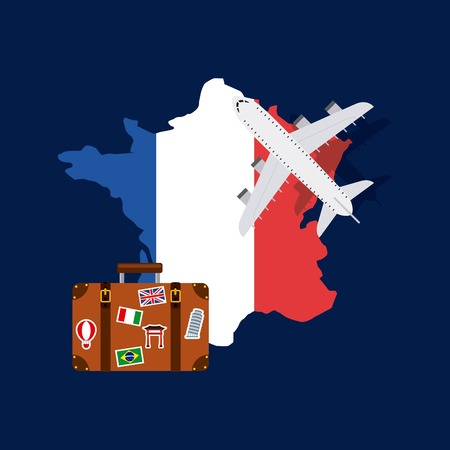french culture: france flag in country shape with airplane and suitcase icons over blue background. colorful design. vector illustration