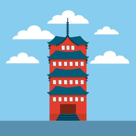 chinesse: iconic chinesse building icon over sky background. colorful design. vector illustration Illustration