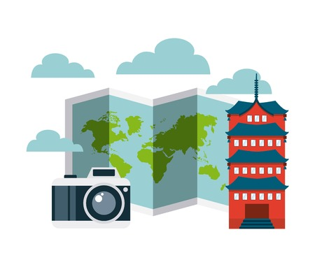 chinesse: world map and camera photographic with chinesse iconic building over white background. vector illustration Illustration