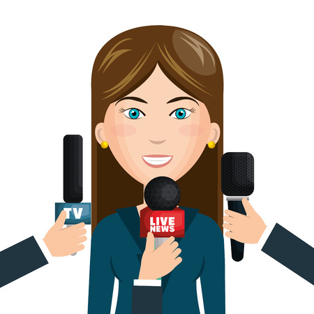 newsreader: reporter live news isolated icon vector illustration design Illustration