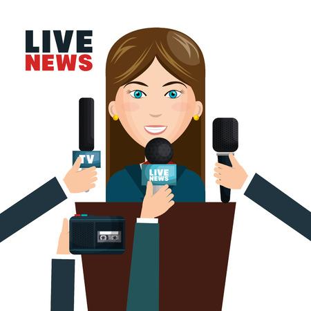 Interview to person on podium vector illustration design Illustration