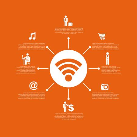 infographic presentation template with business and network icons over orange background. colorful design. vector illustration