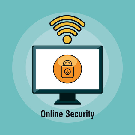 firewall: online security flat icons vector illustration design