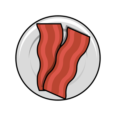 bacon Fried in dish vector illustration design
