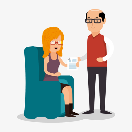 woman and man consults document work vector illustration