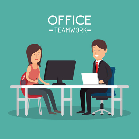 office teamwork woman and man working pc vector illustration