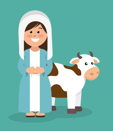 creche: cute virgin mary and cow vector illustration
