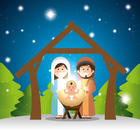 characters manger merry christmas design vector illustration