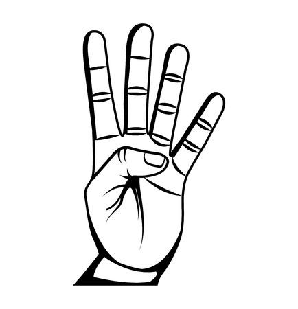 main symbole humain icône isolé illustration vectorielle conception