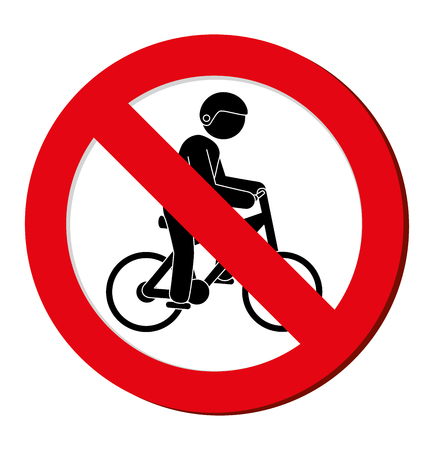 traffic pole: no bicycle prohibited sign vector illustration