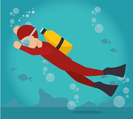 scuba diver water sport extreme activity vector illustration Illustration