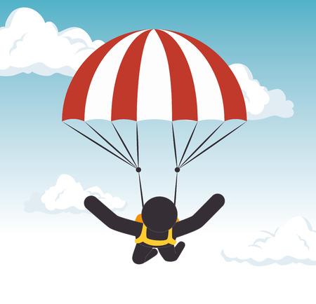 parachuting man extreme sport graphic vector illustration