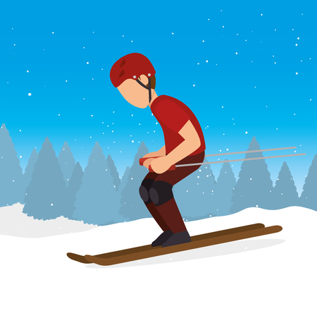 skiing downhill man extreme sports vector Illustration
