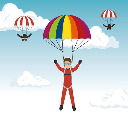 parachutist man extreme sport vector illustration