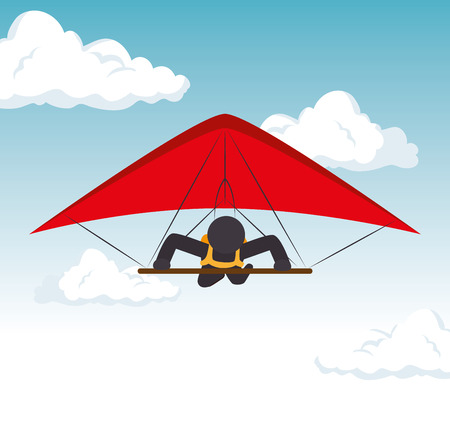 sky gliding man flying extreme sport vector